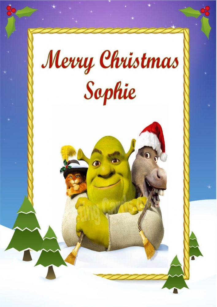 Personalised Shrek Christmas Card Design 2